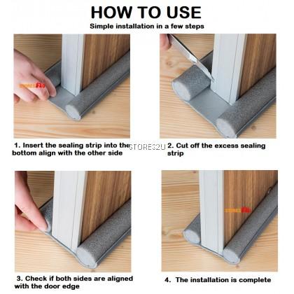 95cm Door Gap Bottom Seal Sound Proof Wind Dust Blocker Doorstop Draft Protector Flexible Sealing Strip Guard Bawah Pintu (Brown / Grey / Black Color)