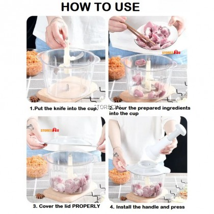 2L Hand Press Food Chopper Multifunction Stainless Steel Manual Operate Grind Meat Onion Garlic Mesin Pencincang 2000ML