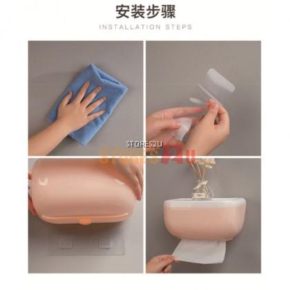 Punch-Free Waterproof Toilet Roll Tissue Paper Box Phone Wall Mount Holder  免打孔防水纸巾盒厕所厕纸盒