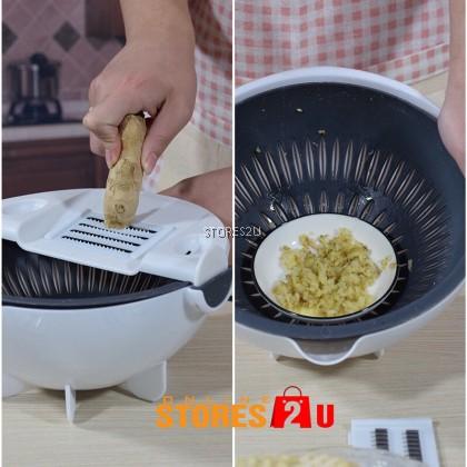 Multifunctional Drain Basket Slicer Fruits Vegetable Cutter All in one Kitchen Tools 多功能切菜器沥水蓝