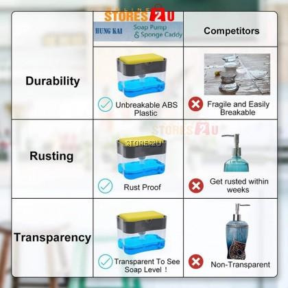 Soap Pump Dispenser with Sponge 2in1 Kitchen Box Holder Manual Press Liquid Dishwash Pam Sabun dgn Span Pencuci Pinggan