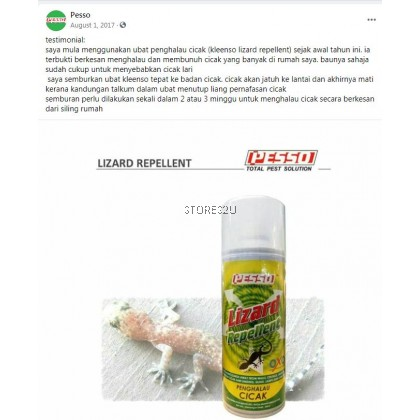 Pesso Lizard Repellent Spray (400ml) Penghalau Cicak Non Pesticide Ingredient
