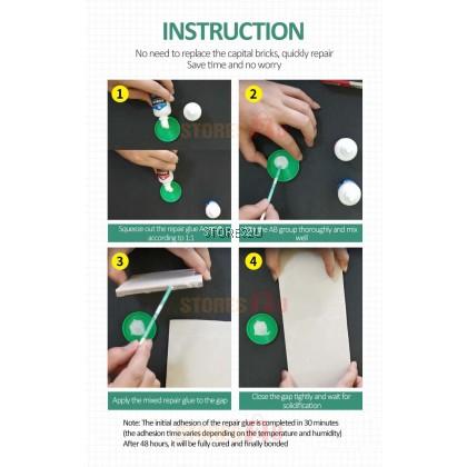 LKB Tile Repair AB Glue Strong Adhesive Porcelain Crack Repair Cream Ceramic Repair Glaze 瓷砖修补胶AB胶强力粘合剂