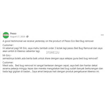 Pesso Eco Bed Bug Removal (500ml) Kill Non Toxic Repellent Remover Spray Penghupus Pijat Pepija