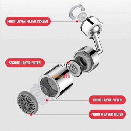 [Premium Quality] 720° Rotate Water Tap Outlet Pressurized Adjustable Basin Extender Universal Splash Filter Faucet