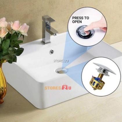 [35mm] Wash Basin Bounce Drain Filter With Funnel Basket Anti Clogging Bathroom Penapis Saliran Sinki