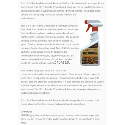 Pesso Eco Termite Removal (500ml) Spray Repellent Prevention and Remover 2in1 Pencegahan Anai-anai