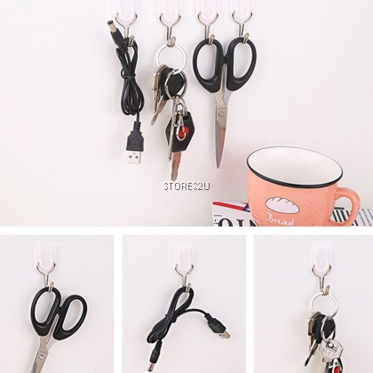 Self Adsesive Wall Hook (6pc/Pack) White Sticky Kitchen Home Bathroom Key Hanger Storage Hanging Holder