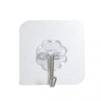 1pc Transparent Hook (6x6cm) Seamless Glue Strong Self Adhesive Wall Hanging Nail-free Small Glue Hook Cangkuk Pelekat