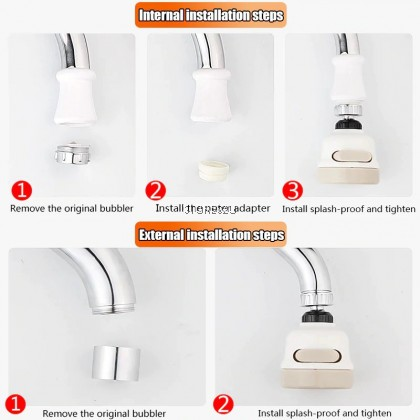 3 Mode Adjustable Booster Faucet Rotatable Pressurized Kitchen Tap Water Nozzle MUNCUNG AIR DAPUR