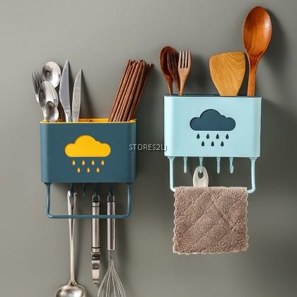 Multifunctional Kitchen Rack Holder Hanging Tableware Storage Box Chopstick Basket Kotak Penyimpanan Peralatan Dapur