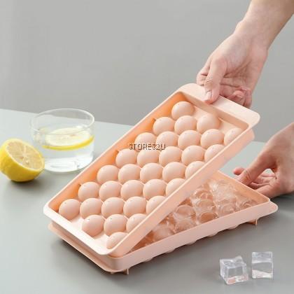 Round Ice Cube Ball Mold Tray Maker with Lid (33 Grid) Food Grade Frozen Storage Ice Box BEKAS ACUAN MENYIMPAN AIS BOLA
