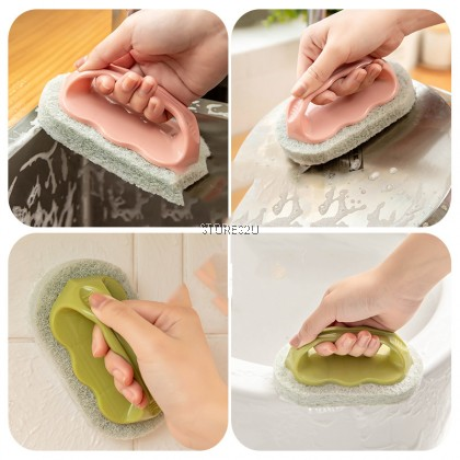 Hard Sponge Cleaning BrushWith Handle Clean Bathroom Bathtub FloorTiles BERUS DENGAN PEMEGANG